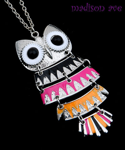 Owl Pendant Necklace Black Pink Orange