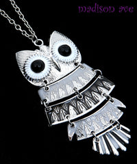 Owl Pendant Necklace Gray Black