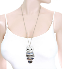 Owl Pendant Necklace Blue Black