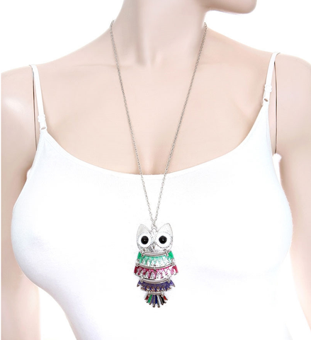 Owl Pendant Necklace Green Fuchsia Purple