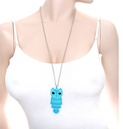 Owl Pendant Necklace Neon Blue