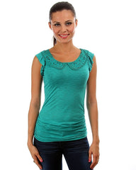Peter Pan Crochet Collar Tie Up Back Shirt Top Emerald Green
