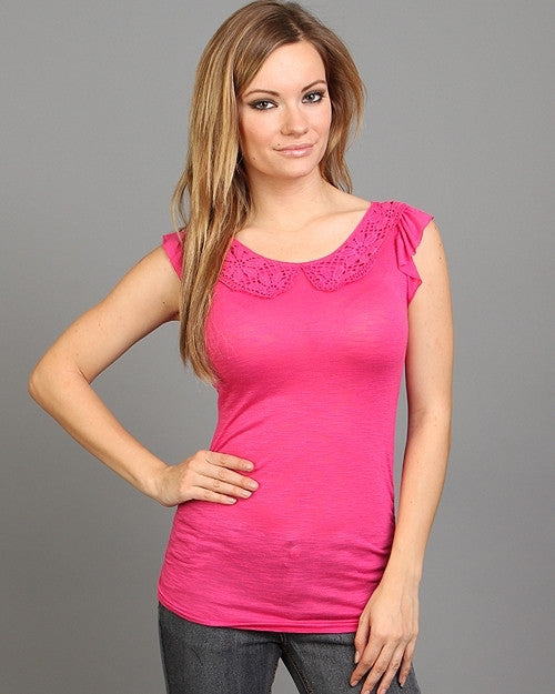 Peter Pan Crochet Collar Tie Up Back Shirt Top Fuchsia Pink