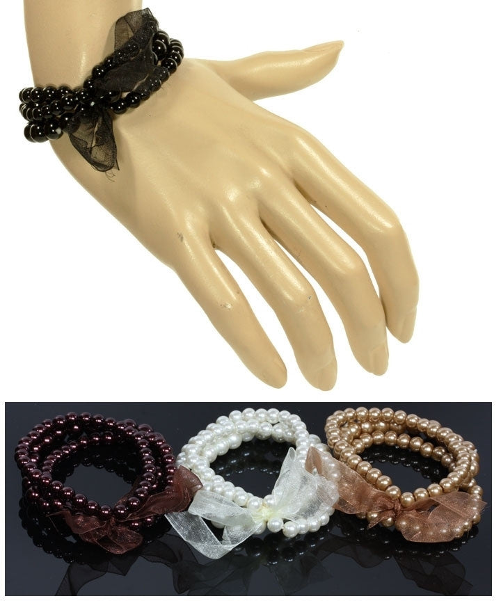 3 Row Faux Pearl Bow Stretchy Bracelet Various Colors