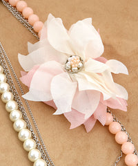 Pink White Faux Pearl Statement Necklace Set