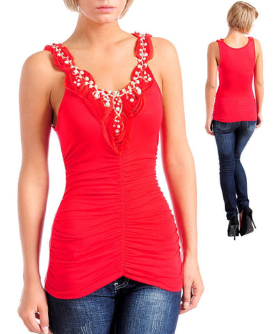 Red Romantic Ruched Rosette Pearl Shirt Tank Top