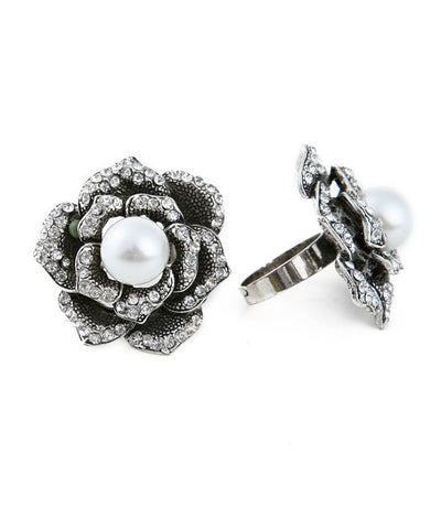 Silver Rhinestones Flower Rose Faux Pearl Adjustable Ring