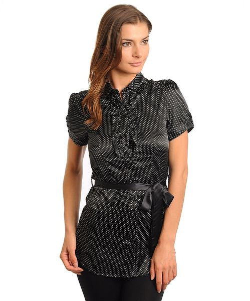 Black Career Polka Dot Blouse With Sash Belt