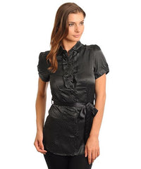 Black Career Collared Polka Dot Short Sleeve Blouse W/ Sash Belt