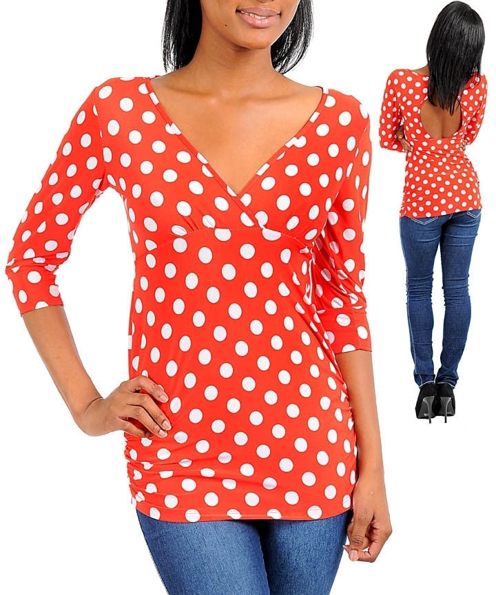 Classic 50s Style Polka Dot 3/4 Sleeve V Neck Shirt Top Red