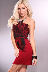 Red Black Floral Print Strapless Sweetheart Neckline Ruffle Mini Dress