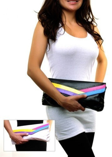 Rainbow Striped Faux Leather Clutch Purse Handbag