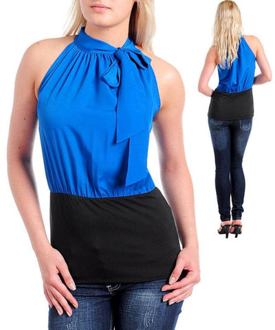 Career Royal Blue Black Halter Blouse