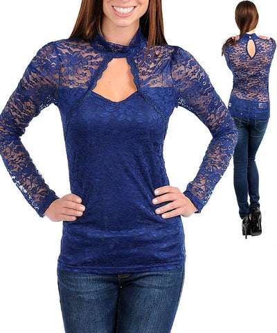 Romantic Navy Blue Floral Lace Sweetheart Neckline Long Sleeve Shirt Top