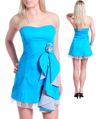 Teal Blue Strapless Sweetheart Neckline Rosette Dress