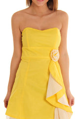 Yellow Strapless Sweetheart Neckline Rosette Dress