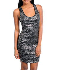 Silver Black Metallic Sequin Zebra Print Mini Dress