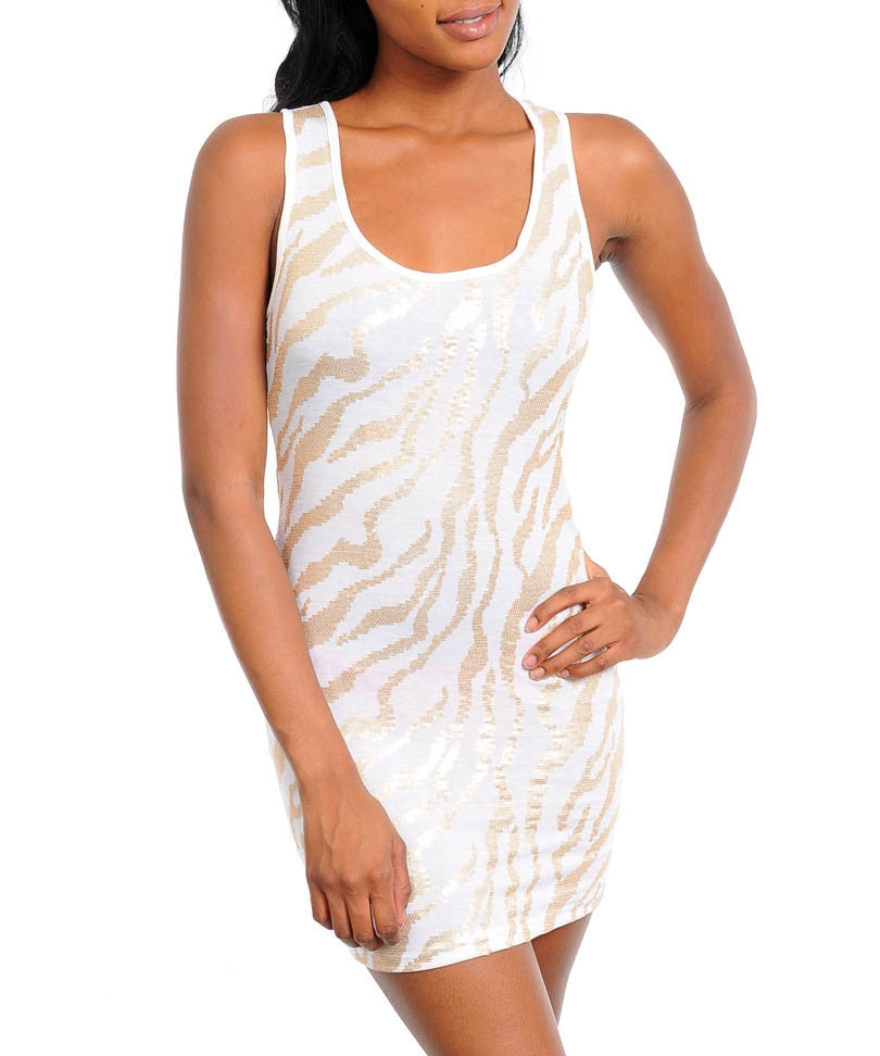 White Gold Sequined Zebra Print Mini Dress