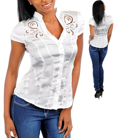 White Career Silk Satin Button Up Cap Sleeve Blouse Shirt Top
