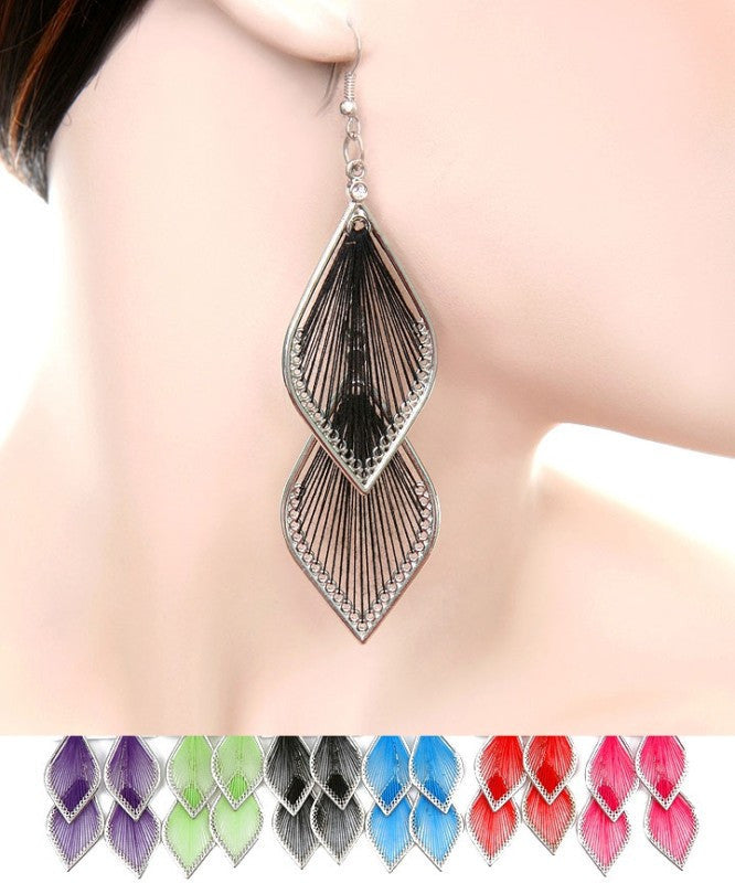 Two Tier Dangle Colorful String Earrings
