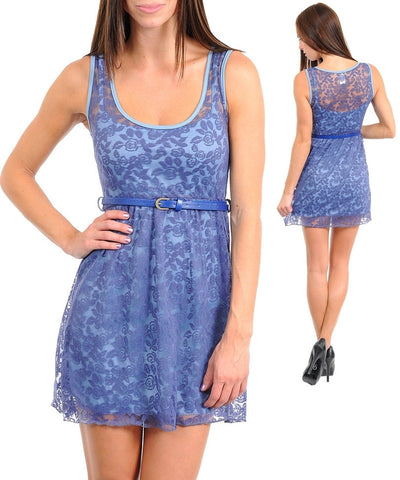 Romantic Blue Floral Lace Overlay Belted Skater Dress