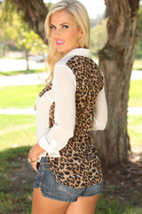 Chiffon Sheer Leopard Print Button Up Blouse White
