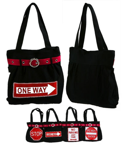 Black Traffic Signs Tote Bag Purse