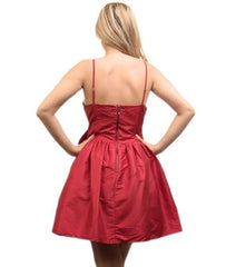 Red V Neck Bow Tulle Satin Prom Party Dress