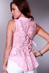 Romantic Victorian Floral Corset Lace Up Back Button Up Top Pink