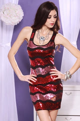 Red Pink Waves Sequined Racerback Tunic Mini Dress