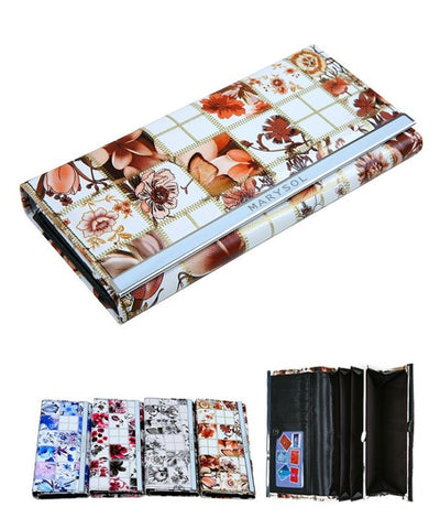 White Floral Print Faux Leather Clutch Wallet