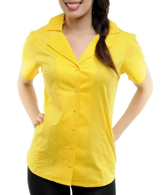 Career Yellow Collared Short Sleeve Button Up Blouse Shirt Top