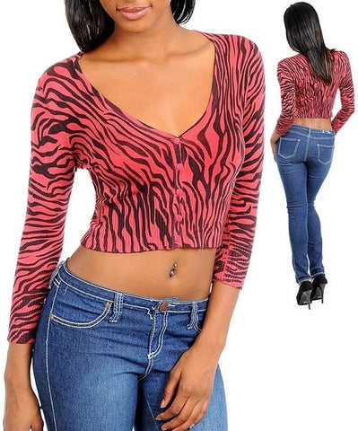 Red Zebra Print Long Sleeve Cropped Cardigan