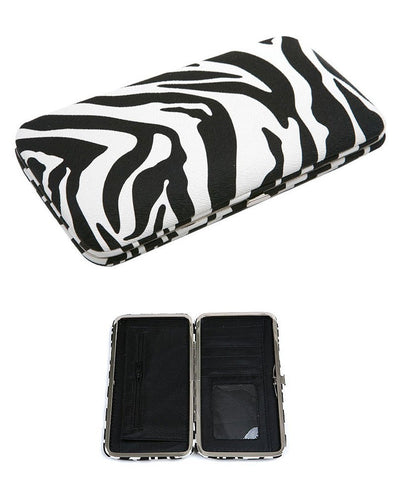 Zebra Print Clutch Wallet Faux Leather