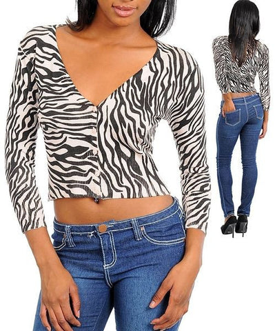 Zebra Print Long Sleeve Cropped Cardigan