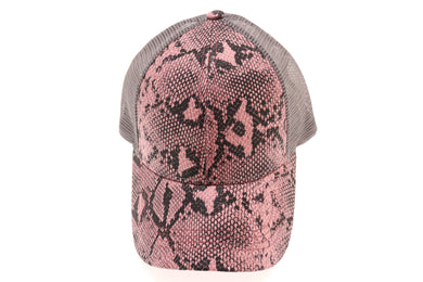 BLANK ONLY -Matte Snake Print High Ponytail CC Ball Cap BT2410