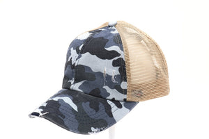 Distressed Camouflage Criss-Cross High Ponytail CC Ball Cap BT783