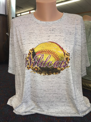 Leopard with Glitter Mascot Softball