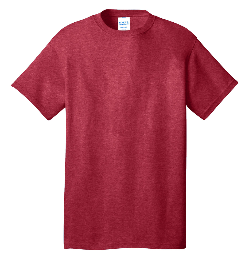 Port & Company® Core Cotton Tee- PC54 Heather Red Printed 1 Color