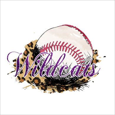 Leopard with  Glitter Mascot Baseball