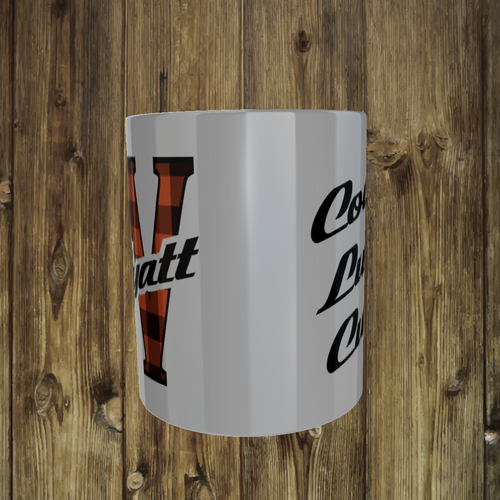 3 Pack 11 Oz Plaid Name Mug  = Custom Back Text