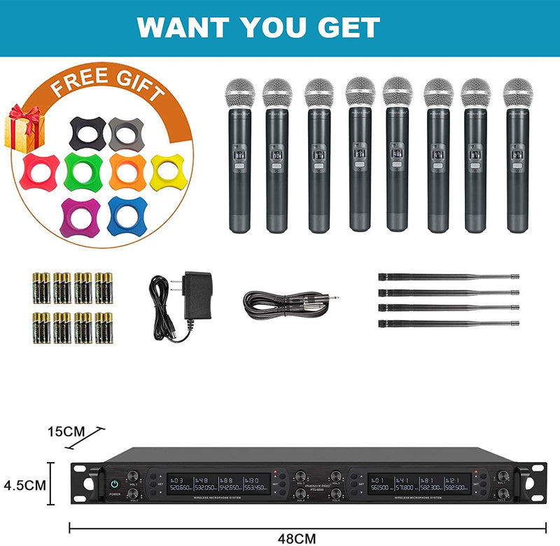 Phenyx Pro PTU-6000A 8-channel UHF Wireless Microphone System with Auto Scan ( 8x40 Frequencies)