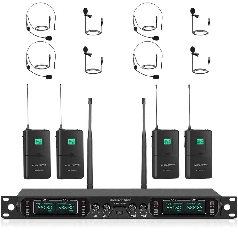 Phenyx Pro PTU-5000D Quad-Channel UHF Wireless Microphone System (Four Bodypacks/Four Headsets/Four Lapels)