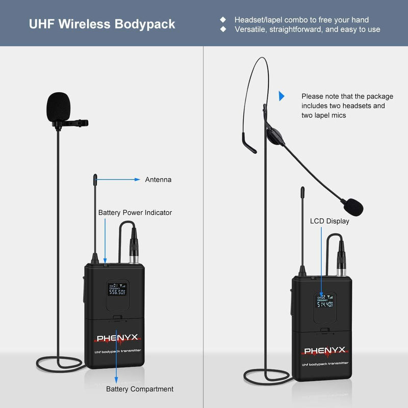 Phenyx Pro PTU-51D Dual UHF Wireless Microphone System with Bodypacks (556.5MHz, 514.4MHz)