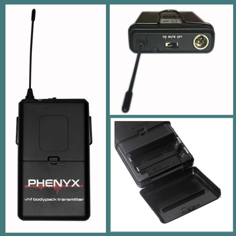 Phenyx Pro Wireless Bodypack Transmitter Compatible with Receiver PTV-2000, Channel A (Black)