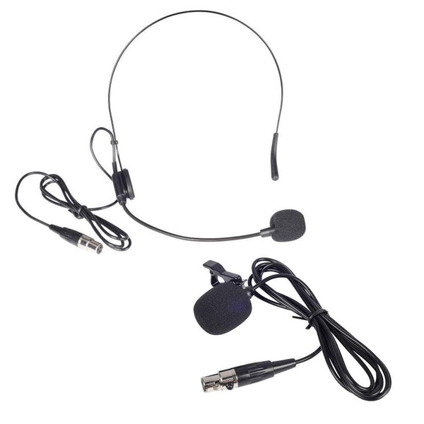 Phenyx Pro PTV-2000 Lavalier Lapel/Headset Mic Combo with 3 Pin Mini XLR Jack (Black)