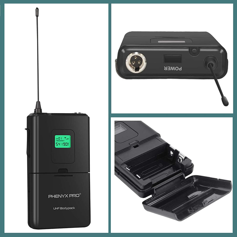 Phenyx Pro Wireless BodyPack Transmitter Compatible With Receiver PTU-5000, Frequency541.9 (Black)