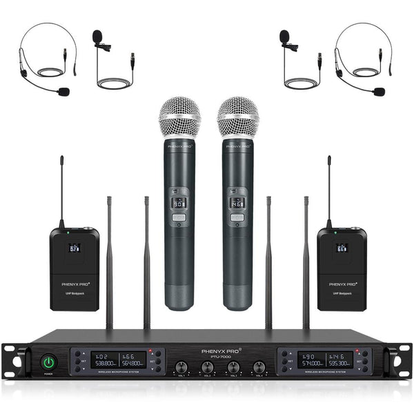 Phenyx Pro PTU-7000C 4-channel UHF Wireless Microphone System with Auto Scan ( 4x40 Frequencies)