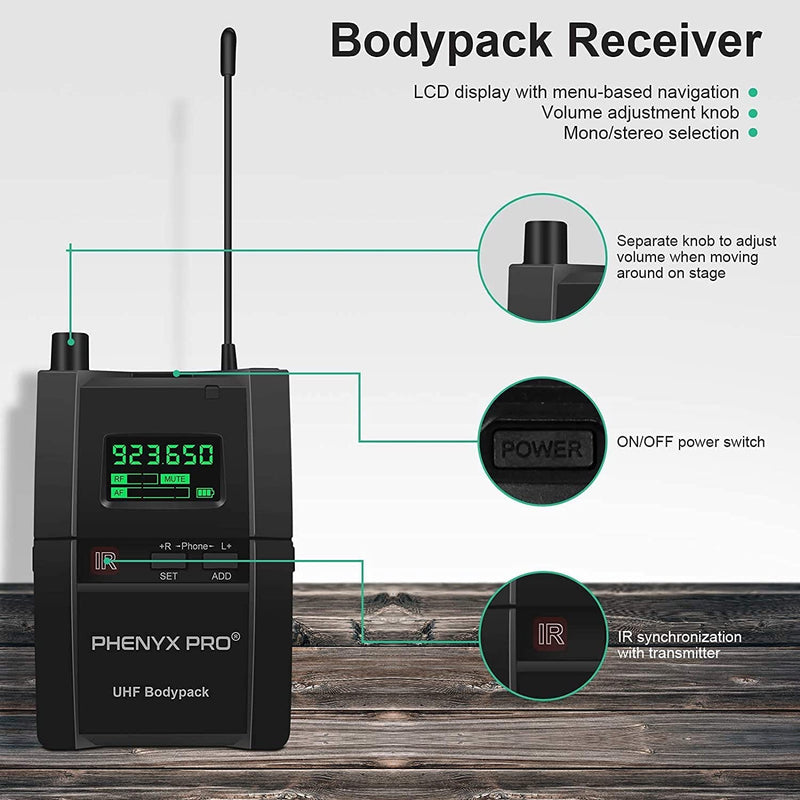 Phenyx Pro UHF Stereo Wireless In Ear Monitor System Bodypack Receiver Compatible With PTM-10