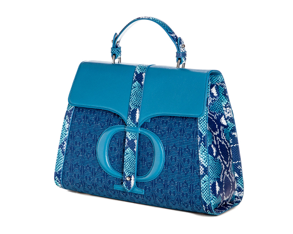 The Large Safia Satchel bleu - FULANI